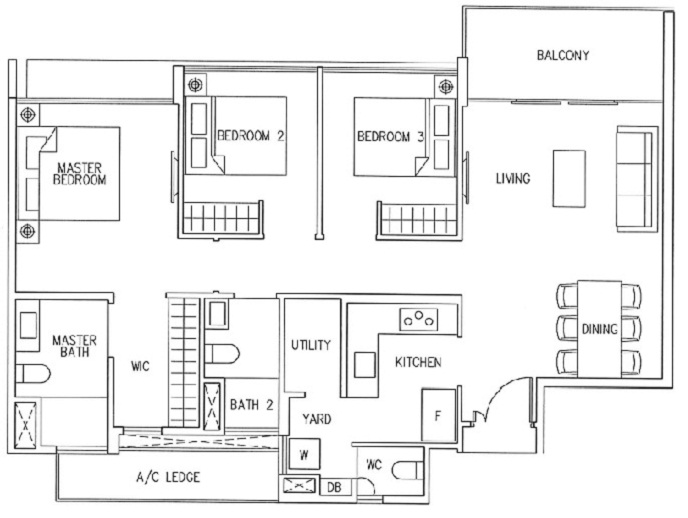 3 Bedroom Premium: (1050 - 1093)sqft