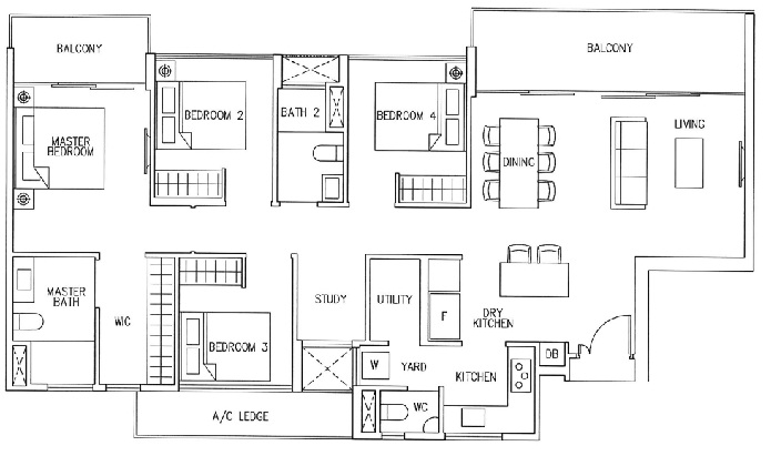 4 Bedroom (CoSpace): 1361sqft