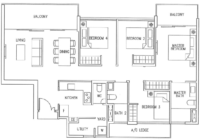 4 Bedroom: 1138sqft
